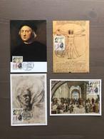 4 Cartoline Maximum Colombo Con Annullo Primo Giorno Di Emissione Sul Valore Da £.3200 Genova 18/09/1992 - Christophe Colomb