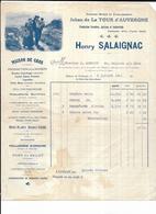 Haute Garonne 31 Toulouse LA TOUR D' AUVERGNE FACTURE Production Fermière Henri SALAIGNAC 1911 - 1900 – 1949