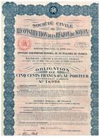Titre Ancien - Société Civile De Reconstitution De La Région De Noyon - Obligation De 1922 - - Actions & Titres
