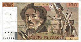 11459   LOT DE 5  BILLETS DE BANQUE 100 FRANCS DELACROIX - 1962-1997 ''Francs''