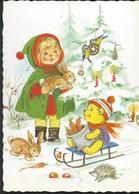 1981 New Year - Girl,rabbits, Hedgehogs And Bears- Used Postcard Yugoslavia. - New Year