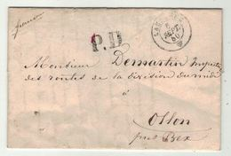 Suisse // Schweiz // Switzerland //  Préphilatélie  // Lettre Au Départ De Lausanne Pour Ollon 1850 - Suisse