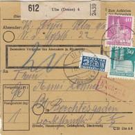 BiZone Paketkarte 1948: Ulm Donau Nach Berchtesgaden, Nachgebühr, Notopfer - American,British And Russian Zone