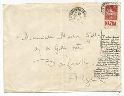 ALGERIE 50C PUB MAZDA LETTRE COVER EXPEDIEE MONTAUBAN 16.10.1939 POUR BOUFARIK ALGERIE - Lettres & Documents