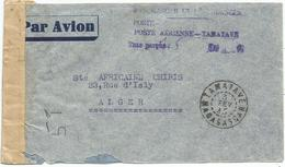 MADAGASCAR LETTRE AVION GRIFFE POSTE AERIENNE 7.50 MANUSCRIT TAXE PERCUE OBL TAMATAVE 1945 + CENSURE POUR ALGER - Storia Postale