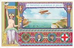 Louis Blériot Et Anzani (inventeurs) - La Traversée De La Manche 25 Juillet 1909 - Illustration V. Mellone - Airmen, Fliers