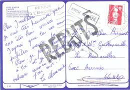 CP CANNES ALPES MARITIMES SECAP 4-8-1992 => PORT BARCARES – ADRESSE INCOMPLÈTE + RETOUR + REBUTS - Storia Postale