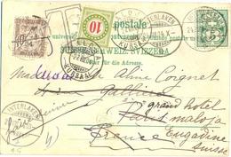 CP SUISSE TàD INTERLAKEN 24 VIII 04 TAXÉE 10 C. À PARIS XVI Le 25, RENVOYÉ Vers MALOJA KURSAAL TAXÉE 10 C. YT 31 - Marcofilia (sobres)