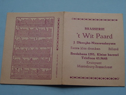 Brasserie 'T WIT PAARD > J. Dhooghe-Nieuwenhuysen ( Kalender 1956 ) KLEINE BARREEL ( Zie Foto's ) ! - Calendriers