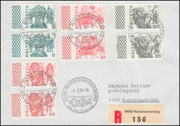 Schweiz 1110+1101+1103+1105 Je Als Do Und Du Getrennt Mit Rand Auf R-FDC 1.2.84 - Suisse