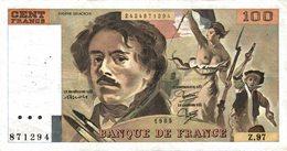 11460   LOT DE 5  BILLETS DE BANQUE 100 FRANCS DELACROIX - 1962-1997 ''Francs''