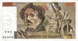 11461   LOT DE 5  BILLETS DE BANQUE 100 FRANCS DELACROIX - 1962-1997 ''Francs''