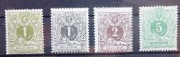 BELGIE  1884    Nr. 42 - 45   Licht Spoor Van Scharnier *   CW 90,00 - 1869-1888 Lion Couché (Liegender Löwe)