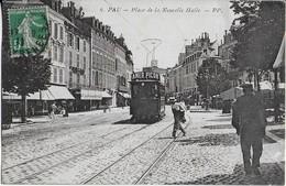 """PAU  : Place De La Nouvelle Halle - Tramway Avec Publicité  """"  Amer Picon """" ( 1911 ) - Pau"""