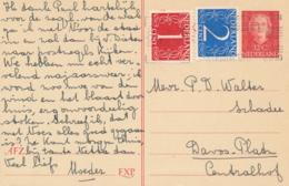 Nederland - 1953 - 12 Cent Juliana En Face, Briefkaart G306 + 3 Cent Van Rotterdam Naar Davos / Schweiz - Entiers Postaux