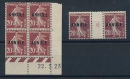 DI-270: FRANCE: Lot Avec SEMEUSES CAMEES  (COURS D'INSTRUCTION **) N°139 Coin Daté + Mill0 (chiffre Pâle Signés) - Cours D'Instruction