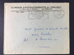 Lettre Le Creusot Clinique Accouchements Flamme Postale Morvan Tourisme Bourgogne 1966 Saône Et Loire - Marcophilie (Lettres)