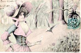 CPA  -  Jeune Fille Avec Joli Chapeau Et Colombes  - écrite - Femmes
