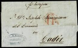 1832. GIBRALTAR A CÁDIZ. MARCA DE GIBRALTAR/SAN ROQUE ROJO. PORTEO 1 REAL. MNS. POR ESTAFETA Y MARCA REMITENTE. - Gibraltar