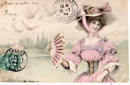 CPA  -  Jeune Fille Avec Joli Chapeau Et  Papillons  - écrite - Femmes