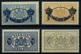 DIENSTMARKEN D 12/3,15/6 *, 1889/91, Wappenzeichnung, Falzreste, 4 Prachtwerte, Mi. 45.- - Officials