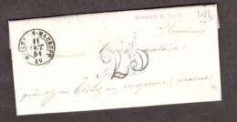 LAC- OR Vanault Les Dames Par Givry (cursive) Pour Epense - 11 Oct 1851 - Port Dû Taxe 25 -Heiltz Le Maurupt 49 Marne - Poststempel (Briefe)