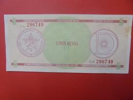 """CUBA 5 PESOS SERIE """"D"""" CIRCULER (B.5) - Cuba"""