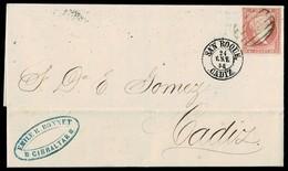 1858. GIBRALTAR A CÁDIZ. 4 CUARTOS ROJO ED. 48 MAT. PARRILLA. FECHADOR SAN ROQUE/CADIZ Y MARCA REMITENTE. MUY BONITA. - Gibraltar