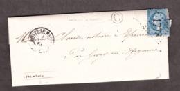 """LAC - Boîte Rurale """"C"""" Vanault Le Châtel Par Givry Pour Epense - 9 Nov 1864 - Heiltz Le Maurupt 49 Marne - GC 1778 - 1849-1876: Periodo Clásico"""
