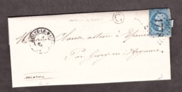 """LAC - Boîte Rurale """"C"""" Vanault Le Châtel Par Givry Pour Epense - 9 Nov 1864 - Heiltz Le Maurupt 49 Marne - GC 1778 - 1849-1876: Période Classique"""