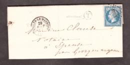 """LAC - Boîte Rurale """"T"""" Vernancourt Par Givry En Argonne Pour Epense - 29 Août 1862 - Heiltz Le Maurupt 49 Marne - Poststempel (Briefe)"""
