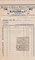 ANDERNOS H PIATON HUITRES EN GROS DU BASSIN D ARCACHON OSTREICOLES P SIMON ANNEE 1947 AVEC PETIT RECEPISSE CACHET - Non Classés