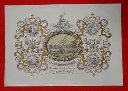 RARE Publicité DE LANDTSHEER Constructeur De Navires Au Bassin GAND Porcelaine Litho Jacqmain 34.5x24.5cm 19°Siecle - Advertising