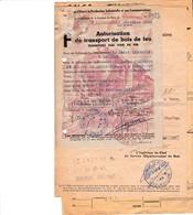 CHAUMONT LANQUES AUTORISATION DE TRANSPORT DE BOIS DE FEU TRANSPORT PAR VOIE DE FER A MR THEVENOT ANNEE 1945 CACHET SNCF - France