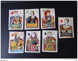Etiquettes: Lot De 7 Vignettes Publicitaires  Jeux De Carte ( Collées Sur Papier) - Boites D'allumettes - Etiquettes