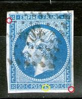 """N°14°_type 1c_sur Azuré_PC 702_Chalons Sur Saône_cote 12.00_branche Du """"E"""" Pliée_(amorçe De """"F"""" ????) - 1853-1860 Napoléon III"""
