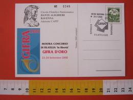 A.10 ITALIA ANNULLO - 2000 RAVENNA GIORNATE FILATELICHE GIFRA DANTE ALIGHIERI FRANCOBOLLO EXPO CARD BASILICA - Esposizioni Filateliche