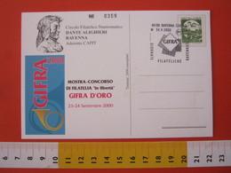 A.10 ITALIA ANNULLO - 2000 RAVENNA GIORNATE FILATELICHE GIFRA DANTE ALIGHIERI FRANCOBOLLO EXPO CARD BASILICA - Francobolli Su Francobolli