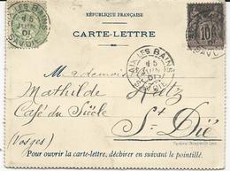 CARTE-LETTRE 1901 LOUVRE ET SAVOY HÔTEL AIX LES BAINS AVEC 2 TIMBRES TYPES SAGE/BLANC - Storia Postale