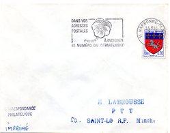 AUDE - Dépt N° 11 = NARBONNE PLAGE 1967 = FLAMME SECAP ' PENSEZ à INDIQUER NUMERO DEPARTEMENT ' - Codice Postale