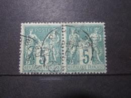 VEND BEAUX TIMBRES DE FRANCE N° 75 EN PAIRE !!! (c) - 1876-1898 Sage (Type II)