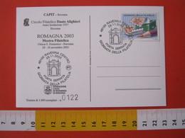 A.10 ITALIA ANNULLO - 2003 RAVENNA GIORNATA FILATELIA PORTA SERRATA ARCHITETTURA CIRCOLO DANTE ALIGHIERI - Monumenti