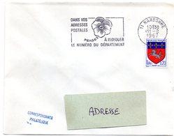 AUDE - Dépt N° 11 = NARBONNE 1967 = FLAMME SECAP ' PENSEZ à INDIQUER NUMERO DEPARTEMENT ' - Codice Postale