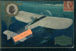 Aviation Aviateur Et Avion  BLERIOT  Carte Gaufrée Collection Lefèvre Utile 1916 De Turin - Aviateurs