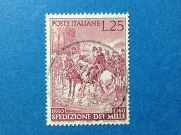 1960 ITALIA GARIBALDI SPEDIZIONE DEI MILLE 25 LIRE FRANCOBOLLO USATO ITALY STAMP USED - 1946-60: Usati