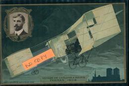 Aviation Aviateur Et Avion  FARMAN  Carte Gaufrée Collection Lefèvre Utile - Aviateurs