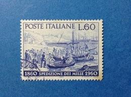 1960 ITALIA GARIBALDI SPEDIZIONE DEI MILLE 60 LIRE FRANCOBOLLO USATO ITALY STAMP USED - 1946-60: Usati