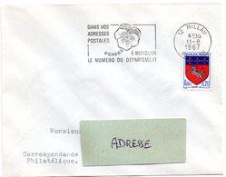 AVEYRON - Dépt N° 12 = MILLAU 1967 = FLAMME SECAP ' PENSEZ à INDIQUER NUMERO DEPARTEMENT ' - Code Postal
