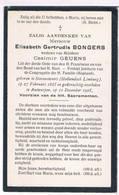 Dp. Bongers Elisabeth. Wed. Geuens C. ° Stevensweert (Hollandsch Limburg) 1835 † Antwerpen 1925  ( 2 Scan's) - Religion & Esotericism