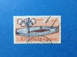 1960 ITALIA GIOCHI OLIMPICI OLIMPIADE ROMA 10 LIRE FRANCOBOLLO USATO ITALY STAMP USED - 1946-60: Usati